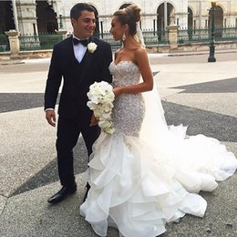 $enCountryForm.capitalKeyWord Australia - New Sexy Mermaid Wedding Dresses Sweetheart Lace Appliques Sliver Beaded Crystal Tiered Ruffles Organza Court Train Plus Size Bridal Gowns