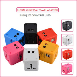 Function Connectors Australia - 2USB Universal Travel Adaptor for 200coutries use Multri Function connectors Portable Convinient Multi Colors