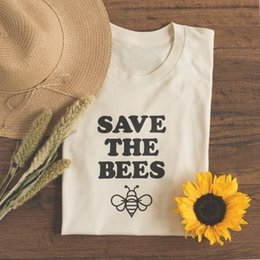 $enCountryForm.capitalKeyWord Australia - Casual Short Sleeve T-Shirt White Yellow Tees New Hot Save The Bees Letter Print Top Tee Lady's Cute Graphic Tee Summer Outfit