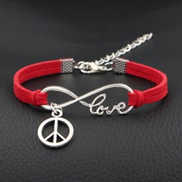 $enCountryForm.capitalKeyWord Australia - 2019 New Fashion Infinity Love Peace Sign Round Pendants Bracelets Boho Handmade Red Leather Suede Rope Velvet Bangles for Women Men Jewelry