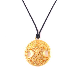 Wicca Crystals Australia - ZH9 Triple Moon Goddess Wicca Pentagram Magic Amulet Necklace Women tree of life moon pendants wheat link chain snake rope chain necklaces