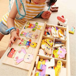 Magnetic Games Australia - Little Bear Change Clothes Children's Early Education Jigsaw Dressing Game Baby Wooden Puzzle Toys Free Shipping