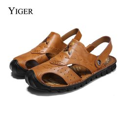 chinese sandals Australia - YIGER New Men Sandals Genuine Leather Men Slippers Beach shoes Chinese style Casual Ethnic style Sandals free shipping 0069