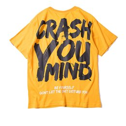 Discount boys graphic shirts - Japanese Harajuku Aesthetic Crash Your Mind Printed Cotton T Shirt for Men Urban Boys Streetwear Hip Hop Graphic Tee Ove