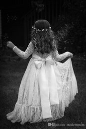 $enCountryForm.capitalKeyWord Australia - Long Sleeve Kids Formal Wedding Occasion Dress Flower Girl Dress Lace Tulle Kids Full Length SKirt M153