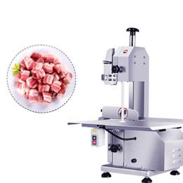 Toptan satış Ticari et testere dondurulmuş balık eti bant testere elektrik 110V / 220V et kemik kesme makinesi masaüstü kemik kesici