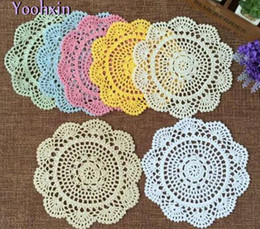 Modern Coasters Australia - Round 20cm Modern Lace Cotton Table Mat Cloth Kitchen Crochet Placemat Place Doily Dining Cup Coffee Coaster Plate Drink Pad