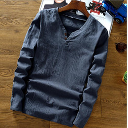 68ce5c5ded12 Big Size M-6xl 7xl Chinese Style Man T-shirts Summer Autumn New 2019 Cotton  Linen O-neck Full Sleeve Tops Two Buttons Solid Top Y190509