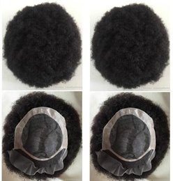 hair toupee wig UK - Men Hair System Wig Mens Hairpieces Afro Curl Front Lace with Mono NPU Toupee Jet Black Indian Remy Human Hair Replacement for Men
