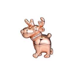$enCountryForm.capitalKeyWord Australia - New Authentic 925 Sterling Silver Animal Bead Charm Rose Gold Reindeer With Crystal Beads Fit Pandora Bracelet Bangle Diy Jewelry
