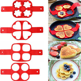 Cake Ring Free Shipping NZ - 4 Holes Nonstick Pancake Mold Egg Rings Silicone Non-stick Pancake Rings Fried Egg Mold Form DIY Kitchen Cooking Tools Free Shipping