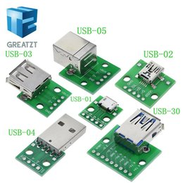 usb micro b male connector NZ - Active Components Integrated Circuits GREATZT 10PCS USB Male Connector   MINI MICRO USB to DIP Adapter 2.54mm 5pin Female Connector B Type