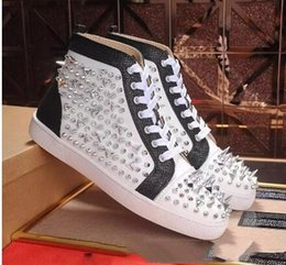 Punk rivet style shoes online shopping - Men Red bottom sneakers PIK PIK Handmade Rivet Punk style High quality Cow leather Perfect Enjoy casual shoes size