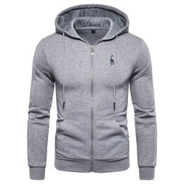 $enCountryForm.capitalKeyWord UK - 2019 New Autumn Winter Hoodied Mens Sweatshirts Deer Embroidery Fleece Thick Hoodies Men Sportswear Zipper Sweatshirts