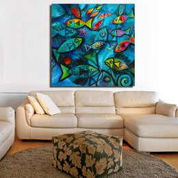 blue sea paintings Australia - Animal Painting Deep Blue Sea Fish Oil Painting on Canvas Wall Pictures for Living Room Poster and Print Wall Decor