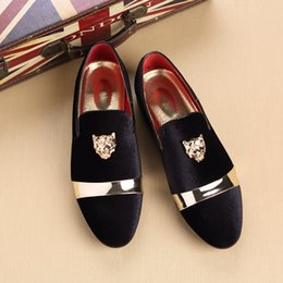 Discount casual men elegant shoes - Men Suede Leather Flat Shoes Pointed Toe Metal Decorated Elegant Slip On Casual Men Party Loafers Shoes #142626