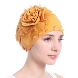 Gauze Scarf Cotton Australia - Amazon New Pattern Side Discoid Gauze Lace Package Edge Nail Pearl Muslim Baotou Cap Solid Color Scarf Hat