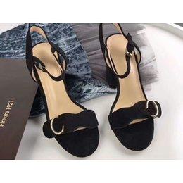 Designer Fabric Brands Australia - Designer 2018 New Luxury high Heels Leather suede mid-heel Brand sandal Womens woman summer sandals Size 35-40 Girls summer shoes