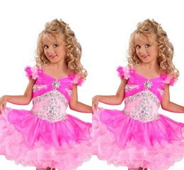 $enCountryForm.capitalKeyWord NZ - Pink Hand Made Flower Capped Sleeve Girls Pageant Dresses Full Beaded Crystals Top Tiered Skirt Little Toddler Infant Communion Gowns Kids