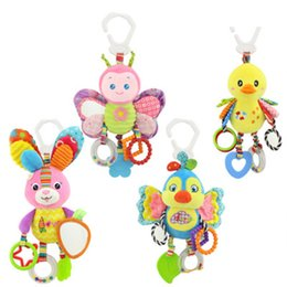 Wholesale Kids stroller bed around hanging bell rattle activity soft toy Cute butterfly rabbit duck bird baby outer baby plush toy