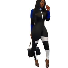 High Quality Jumpsuits Australia - Spring Top Quality New Design 2019 Casual Women Jumpsuits Popular Patchwork High Collar Full Sleeve Skinny Romper