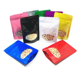 Stand up zip poucheS online shopping - Colored Aluminum Foil Stand Up Zip Lock Pouches with Clear Window For Snack Storage Resealable Bag LX0695
