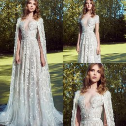 Zuhair Murad Summer Wedding Dress Australia - 2019 Zuhair Murad Modest Wedding Dresses With Long Wrap Lace Appliqued Short Sleeves Vestidos De Novia A Line Country Wedding Dress