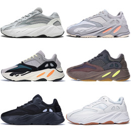 6e6f0a40b New Kanye West 700 V2 Static 3M Mauve Inertia 700s Wave Runner Mens Running  shoes for men Women Solid Grey sports sneakers designer trainers