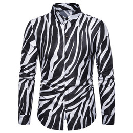zebrastreifen schlank großhandel-2019 New Nightclub Party Zebra Striped Herrenhemden Casual Slim Fit Langarm Camisa Social Herrenhemden Chemise Homme XL