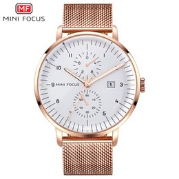 Wholesale MINI FOCUS G Men Quartz Watch Stainless Steel Bussiness Mens Watches Rose Gold Waterproof Fashion Male Clock