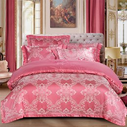 $enCountryForm.capitalKeyWord Australia - YeeKin 100% Cotton Satin Jacquard Embroidery Princess Pink Wedding Bedding Jacquardu Satin Men's Dvet Cover 4pc Lace Embroidery