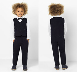Handsome Kids Suits Australia - Little Kids Wedding Tuxedos Handsome 2 Pieces High Quality Stripe Boy's Formal Wear Children Pants Suits (vest+Pants)