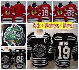 74a1b8d8c Youth Chicago Blackhawks 2019 Winter Classic Kids Hockey Jerseys Black 88  Patrick Kane 19 Jonathan Toews Ladeis Womens Mens Stitched Shirts