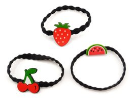 strawberries hair accessories UK - New Girls Cute Rubber Bands Fruit Cartoon Hair Accessories Strawberry Cherry Watermelon Headbands Kids High Elastic Hair Band