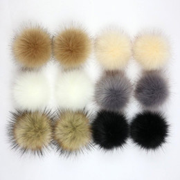 faux fur ball keychain UK - 1pc Faux Fox Fur 10cm Pom Pom Ball Handmade Artificial Fur Ball for Beanies Hat Bags Keychain Accessories Fluffy Pompoms DIY