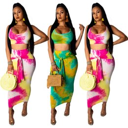 tie maxi dress Australia - Women maxi dresses set sleeveless tops tie-dyed sexy beach Crop Tops long dresses with belt vest tank 2 piece outfits LJJA2732