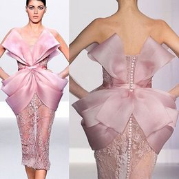 Strapless Champagne Lace Sheath Dress Australia - Pink Lace Stylish 2019 African Evening Dresses Strapless Sheath Prom Dresses Knee Length Sexy Formal Party Pageant Bridesmaid Gowns ZJ322