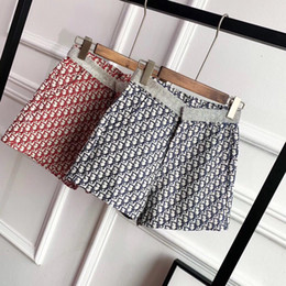 $enCountryForm.capitalKeyWord Australia - 2019 new diamond-encrusted waist vintage printed lettering high-waisted wide-leg shorts for women