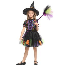 magic girl cosplay Canada - HUIHONSHE High Quality Children's Halloween Cosplay Clothes Children's Anime Magic Witch Clothes Girls' Pettiskirt Witch