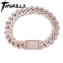box cuban chain NZ - TOPGRILLZ 14mm Big Box Clasp Miami Cuban Link Bracelet Gold Silver Color Iced Out Cubic Zircon Rock Hip hop Style Men's Jewelry