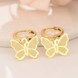 Solid Copper Charms Australia - 14 k Solid Fine Yellow gold Filled Luxury Butterfly Charm Earring Fashion Gold Women Girl Jewelry Gift pretty