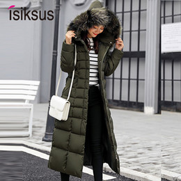 Parka For Woman Black Australia - Isiksus Padded Warm Down Jackets Womens Winter Plus Size Long Quilted Black Hooded Fur Coat Jacket 2018 Parkas for Women WP013 T190610