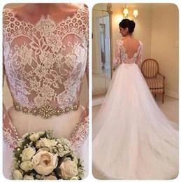 $enCountryForm.capitalKeyWord Australia - 2019 Vintage White Lace A Line Tulle Flowing Long Sleeve Wedding Dresses Bride Classical Maxi Gown Bridal Wedding Party Wear Dress