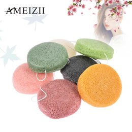 round cosmetic sponges NZ - 1pcs Round Shape Konjac Sponge Cosmetic Puff Face Makeup Wash Pad Cleaning Sponge Puff Exfoliator Face Washing Flutter Makeup