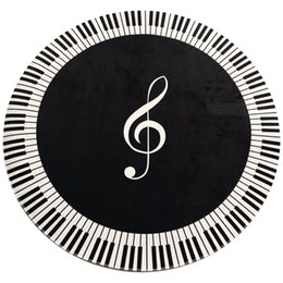$enCountryForm.capitalKeyWord Canada - New Carpet Music Symbol Piano Key Black White Round Carpet Non-Slip Home Bedroom Mat Floor Decoration