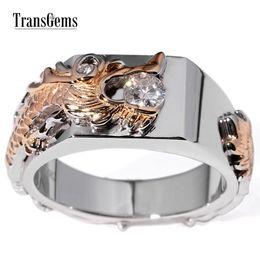 $enCountryForm.capitalKeyWord NZ - Transgems 0.25 Carat F Colorless Lab Grown Moissanite Diamond Wedding Engagement Band In Solid 14k Two Tone Gold For Gentle Men Y19061203