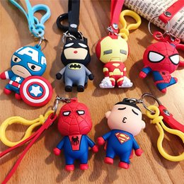 marvel rings Australia - Cartoon Keychain Pendant Marvel Stereo Doll League of Legends Doll Silicone Key Ring Bag Ornaments Captain America IronMan Spiderman Batman