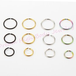 $enCountryForm.capitalKeyWord NZ - wholesale Jewelry Hoop Nose Fake Ear Earring Rings 22G 8mm Body Piercing Jewelry Neon 200pcs lot Mixed Color Steel bendable