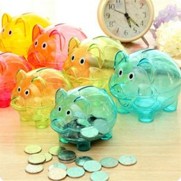 doll toy glasses Australia - Cute Transparent Plastic Piggy Bank Birthday Gift Money Box Kid'S Candy Machine Dolls Coin Boxes Toys Home Decor Other Home Decor