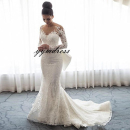 Full Button Dresses Australia - 2019 Luxury Mermaid Wedding Dresses Sheer Neck Long Sleeves Illusion Full Lace Applique Bow Overskirts Button Back Chapel Train Bridal Gowns